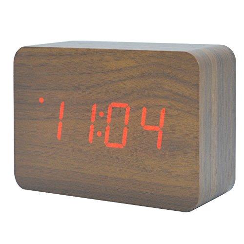 Kalender Elektronisch led-holz-wecker Silent Digitale Zeit Temperatur Datum Alternate Display Desktop Home Schlafzimmer Reisen Uhr mit Sound Control Funktion (Braunes Holz Rotes Licht) (Reise-uhr)