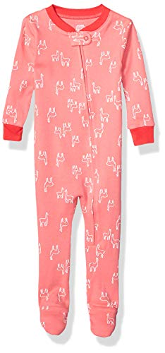 Amazon Essentials Baby Zip-Front Footed Sleeper infant-and-toddler-sleepers, Pink Llamas, 6-12M -
