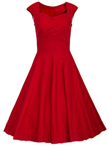 BOMOVO Damen 50s Retro vintage Rockabilly kleid Hepburn Stil Rundausschnitt Partykleid Cocktailkleid Rot9