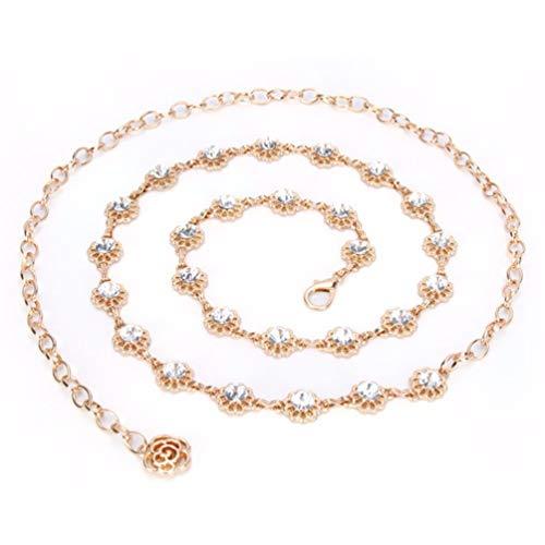 de Metall Taille Kette Strass dekorativen Kleid Gürtel, 115cm, Gold ()