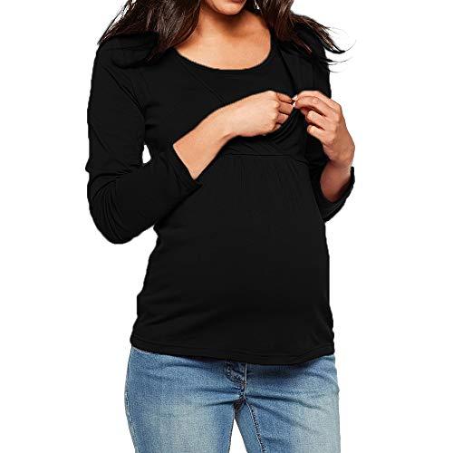 Umstandsmode Blusen Sweatshirts Frauen feiXIANG Kleidung für Schwangere Tops Langarm(Schwarz,L)
