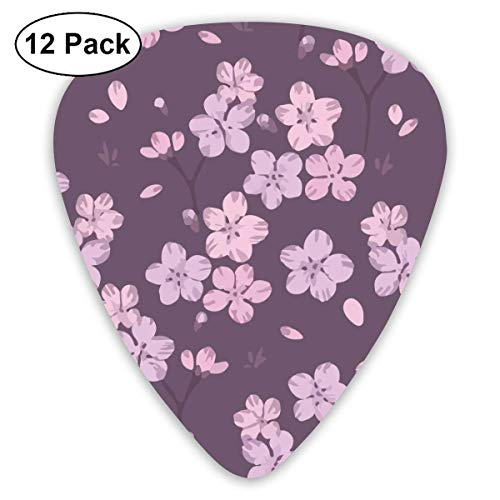 Pink Cherry Blossom Purple Floral 351 Shape Classic Celluloid Guitar Pick For Electric Acoustic Mandolin Bass (12 Count) Basso Blossom