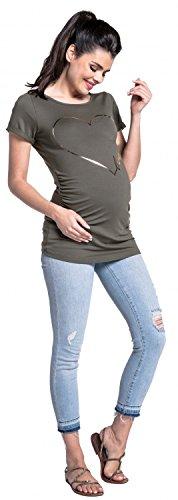 Zeta Ville - Maternité Tee shirt de grossesse doré coeur imprimé - femme - 590c Kaki