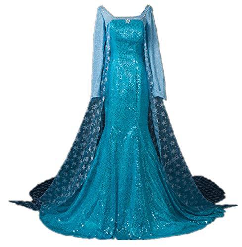 Kostüm Frauen Elsa - ZQZP TOP Damen Elegante Prinzessin ELSA Kleid mit Warmer Stola Pailletten-Kleid Kostüm Cosplay Kleider