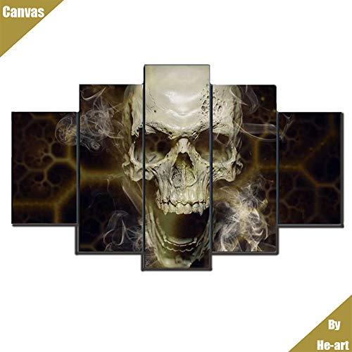 Horror-Schädel-Wrackbild druckt auf Leinwand für Wohnzimmerwanddekoration HD-Fotografie-Plakat 5 gerahmte Wandbildkunstwerke, die bereit sind zu ()