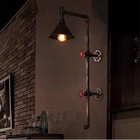 LYNDM Tubo di acqua Creative Lampada da parete in stile loft luce Edison Vintage appliques industriale attrezzature per bar Home vivere Lamparas De Pared,Nero(#BD1340)