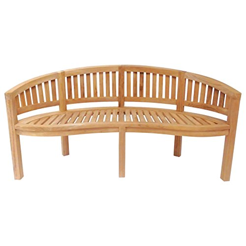 Charles Bentley Solid Wooden Teak Garden Outdoor San Diego Bench 5.2Ft 3 Seater