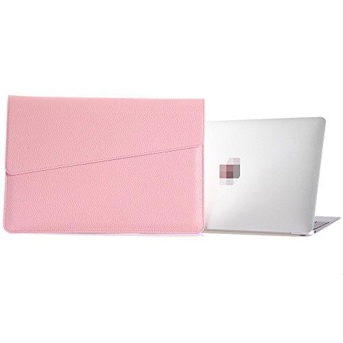 Preisvergleich Produktbild LIANG MacBook air MacBook Pro iPad Air2 11.6, 12, 13.3, 15.4 zoll hülle leder tasche Hülsenkoffer PU-Leder Laptoptasche Schützend Tragen Hüllen(15.4 Zoll, Rosa)