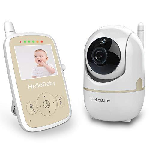 HelloBaby HB248 Video Babyphone mit Fernbedienung Pan-Tilt-Zoom, 2.4 '' Farb-LCD-Bildschirm, Infrarot-Nachtsicht, Temperaturüberwachung, Wiegenlied, Zwei-Wege-Audio -