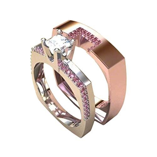 JOOFFF 2 stücke Ringe Engagement Ehering Set Nette Schmuck Fashion Party Jubiläumsgeschenk Idee Für Frau Mädchen Dame Größe 5-10, größe 9 (5 Größe Damen-ehering)