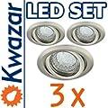 Super Set 3er K-19 Einbaustrahler Led Lampe 20p 20w Gu10 Fassung 230v von Kwazar Leuchte