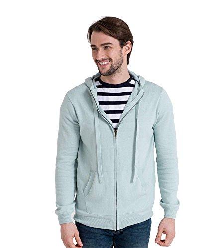 Wool Overs Gilet à capuche homme en cachemire et coton Pale Blue