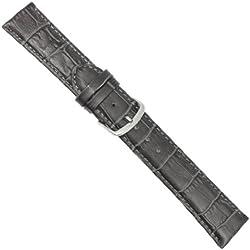 """Uhrbanddealer 22mm Ersatzband Uhrenarmband """"Trend"""" Alligator Print Kalb Leder Band Dunkel grau matt 774622s"""