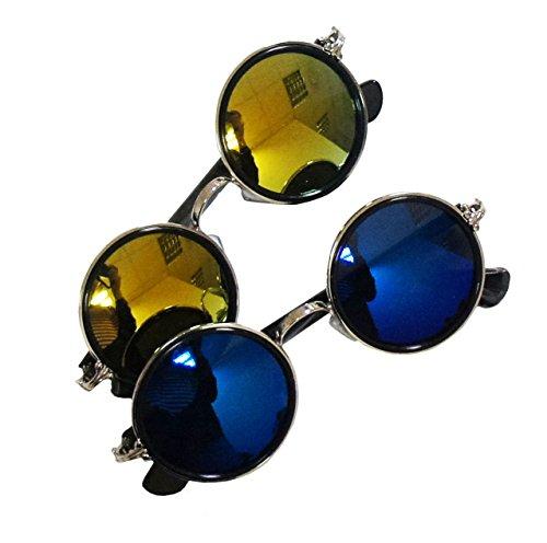HAND ® 5454I Retro- Metall John Lennon Stil Iridescent Spiegel-Objektiv-Sonnenbrille sortierte Farben UV400 - Packung mit 2