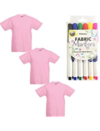 "3 Fruit of the Loom Kinder ""-T-Shirts mit Textilstifte"