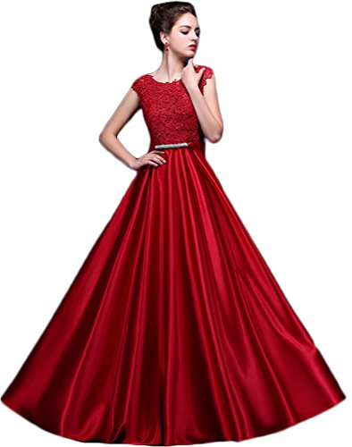 Eudolah Damen Abendkleid Spitze Lang Party Prom Maxi Kleid Naturlaser A-Linie Dunkelrot