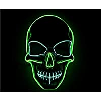 Yukun Máscara La luz fría de Halloween resalta la máscara El cráneo de Terror de la Manera llevó la máscara Luminosa, Verde