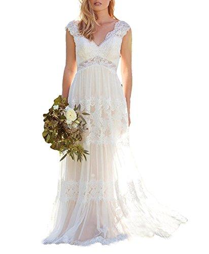 Mingxuerong 2018 Boho Böhmische Hochzeitskleider Hohle Rückenlehne V-Ausschnitt Lange Spitze Brautkleider Weiß 42