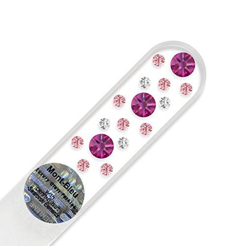 Petite lime à ongle en verre ornées à la main de cristaux de Swarovski Elements, pochette en velours noir | Véritable verre trempé tchèque, garantie à vie, Lime à ongles fait main en cristal