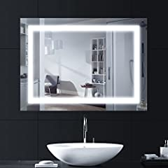 Idea Regalo - LEBRIGHT 18w 80 x 60cm Specchio Luce LED con Illuminazione Interruttore per Il Bagno Camera da Letto, AC 230V,Lucido Argento a Parete con Luce a Specchio con Pulsante a Tendina 4000K Neutro Bianco