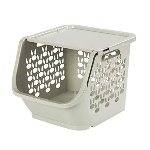 Erocscww Desktop-Speicher, Kunststoff-Stapelbehälter für Büro, Pantry, Küche und Bad (Farbe : Grün) -