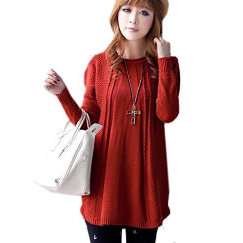 Minetom Femme Pull Manches Longues Tricoter Sweatshirt Fille Sweatshirt à Capuche Casual Blusen Top Rouge