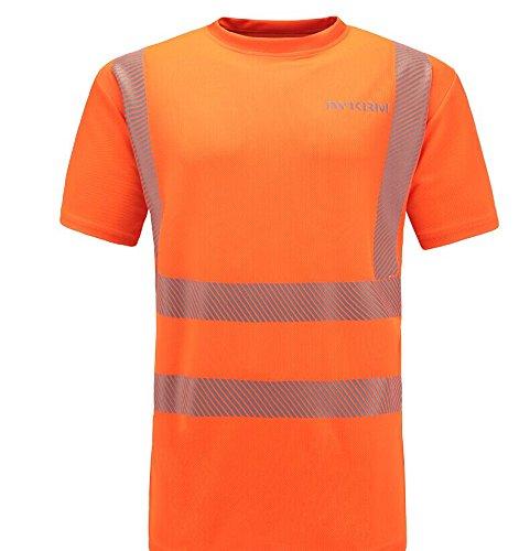 Preisvergleich Produktbild AYKRM Herren Atmungsaktiv Reflektierende Hi Sichtbarkeit Workwear Unisex Sicherheit kurzärmlig Warnschutz Security Sicherheits T shirt Größe L, Orange
