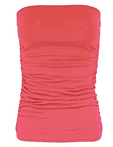 Glamour Fashion-Ladies Bandeau Strapless Ruched Top (Coral, S/M -