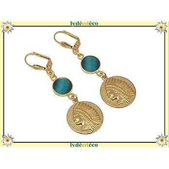 Ohrringe SIOUX vergoldetes Messing 24k Gold Ente blau türkis Harz personalisierte Geschenke Weihnachten Hochzeitszeremonie Hochzeitsgäste Muttertagspaare