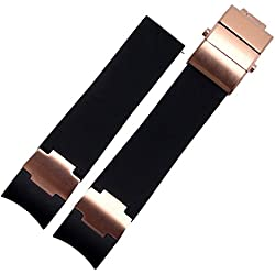 22mm Black Rubber Watch Strap Band Rose Gold Suitable ULYSSE NARDIN DIVER Watch