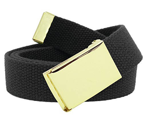 Men's Gold Military Flip Top Belt Buckle with Canvas Web Belt