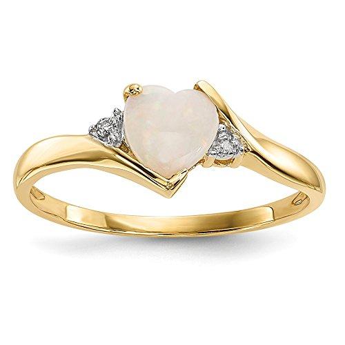 14K Gelb Gold Opal und Diamant Ring (Gold Claddagh-ring Mit Opal)