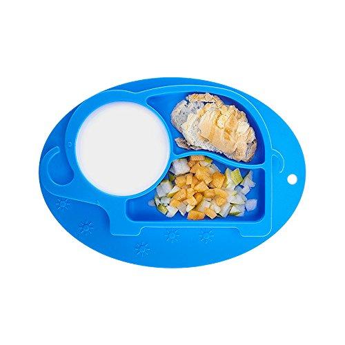 EULANT Platos de Silicona Alimentaria para Bebé y Niño, Vajilla Placa con Compartimientos, Antideslizante Placa de una Sola Pieza Niños, Sin BPA, Microonda &Lavavajillas &Congelador Seguro, Azul