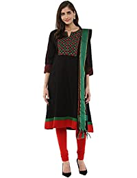 Alto Moda By Pantaloons Women's Cotton A-Line Churidar Kurta Dupatta
