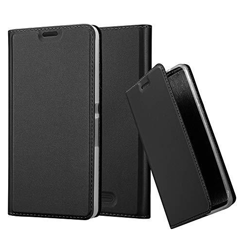 Cadorabo Hülle für Sony Xperia E3 - Hülle in SCHWARZ – Handyhülle mit Standfunktion und Kartenfach im Metallic Look - Case Cover Schutzhülle Etui Tasche Book Klapp Style