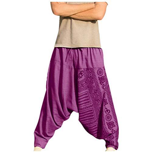 Haremshose für Herren/Skxinn Männer Hippie Kleidung Yoga Kleidung,Große Größe Trendige Kleidung und Pumphose, Nationality Pluderhose Pants Loose Trousers M-5XL Ausverkauf(Lila,XXX-Large)