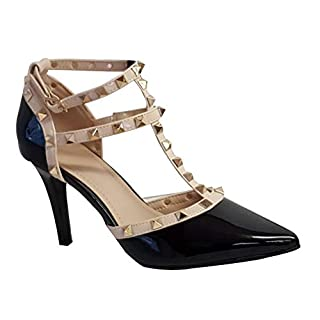 007 New Ladies Party Pointed Studded Stiletto Heel Court Shoes (UK 6, Black PU)