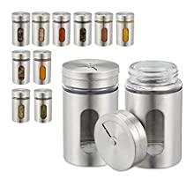 Relaxdays Spice Shaker Set of 12, 3 Dispensing Sizes, Window, Herb Jars, Glass, Stainless Steel, Containers, Silver