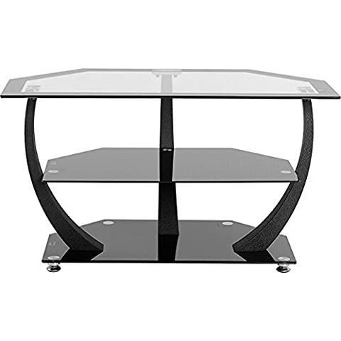 Henley TV Stand in Clear Glass/Black Border/Black Glass/Black by Home Furniture