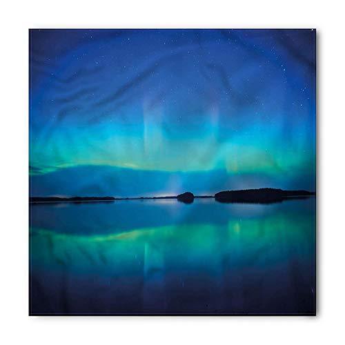 Aurora Borealis Bandana, Sky Scenery Lake, Unisex Head and Neck Tie, Printed Unisex Bandana Head and Neck Tie Scarf Headband, Multicolor M 100x100cm -