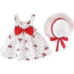 TWIFER_été_ Enfant en Bas âge bébé Enfants Filles Robes de Princesse à Pois sans Manches Bow Hat Outfits_1 2 3 4 5 6 7 9 Ans Les magasins Ont