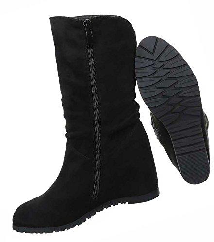 Damen Boots Schuhe Wedges Keil Stiefel Schwarz Grau 35 36 37 38 39 40 41 Schwarz