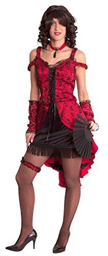 aloon-Girl Can Can Kostüm Damen sexy rot-schwarz Western-Kostüm Kleid, Armstulpen inkl. Halsschmuck Größe 36/38 (Saloon Girl Kostüm Für Kinder)