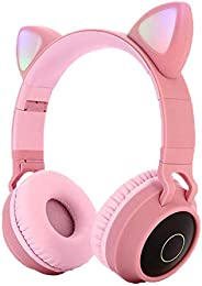 Pshare Cute Foldable Over/On Ear Headsets with LED Light for Girl Adult, Bluetooth 5.0 Kids Cat Headphones for