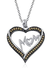 Silvernshine Mom Heart Necklace Love Pendant Mother's Day Gift 10K White Gold FN Citrin CZ Diamond