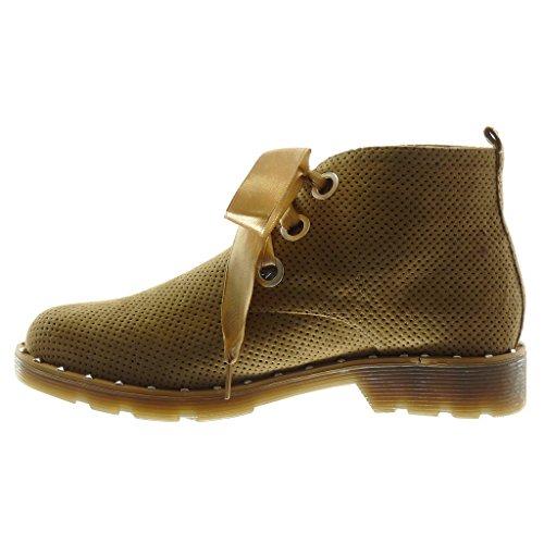 Angkorly Scarpe Moda Stivaletti Scarponcini Scarpa Derby Desert Boots Donna Lacci in Raso Perforato Borchiati Tacco a Blocco 3 cm Cammello