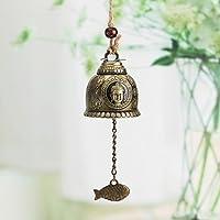 HuaYang - Estatua de Buda tradicional china de aleación de zinc de bronce para colgar campana de Feng Shui, decoración para el hogar con viento, ideal para el hogar o el jardín