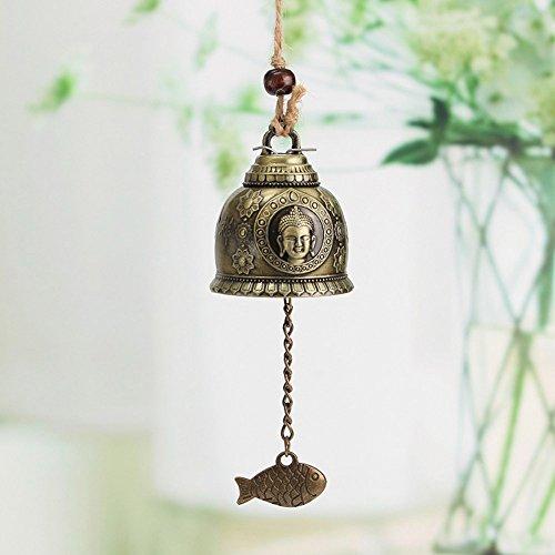 HuaYang Traditionelle chinesische Feng Shui-Glocke mit Buddha-Statue aus Zink-Legierung und Bronze, Windspiel- Hausdeko zum Aufhängen, Glücksbringer für Haus und Garten