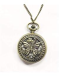 HSDDA Vintage Flip on Pocket Watch Collier Quartz Montre Pendentif Montre de Poche (Bronze)
