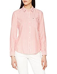 Tommy_Jeans Tjw Regular Stripe Shirt, Blusa para Mujer, Rosa (Spiced Coral / Bright